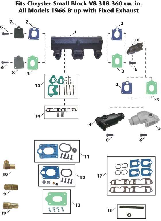 Chrysler Inboard Small Block V8 (fixed) Exhaust Manifold Exploded View