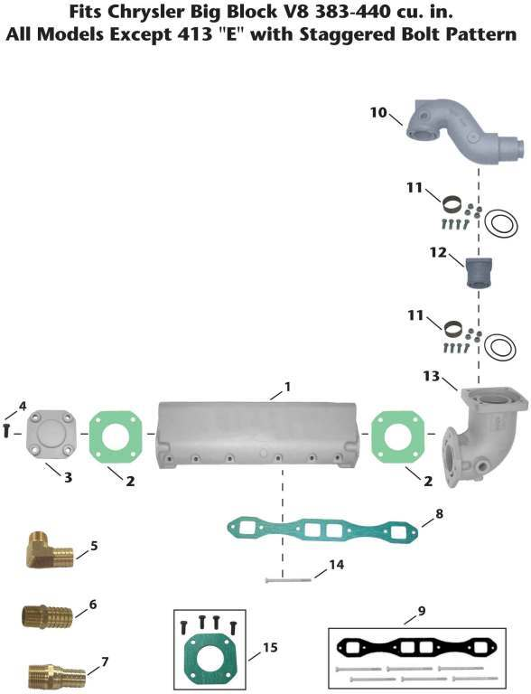 Chrysler Inboard Big Block V8 Exhaust Manifold Exploded View