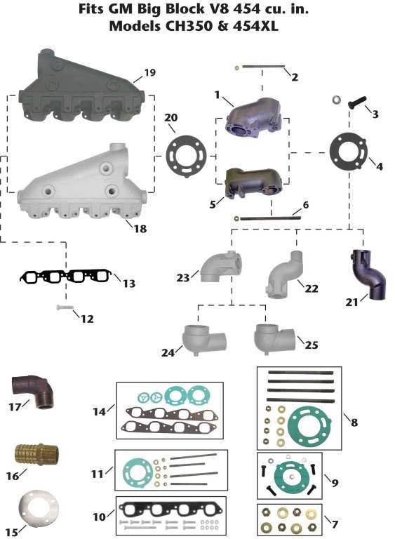 Crusader Inboard GM Big Block V8 (CH350, 454XL) Exhaust Manifold Exploded View