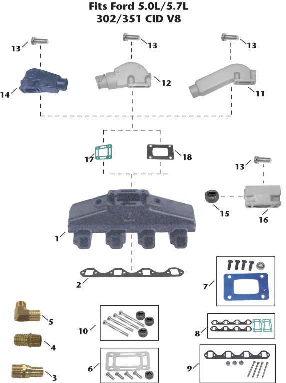 Universal Ford V8 (5.0L, 5.7L) Inboard Exhaust Manifold Exploded View