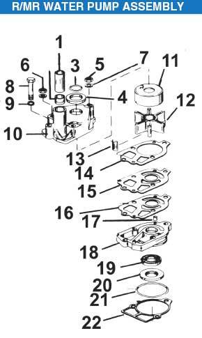 Mercruiser R, MR Sterndrive Water Pump Assembly Exploded View