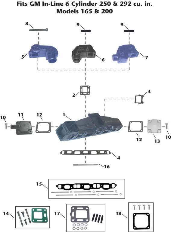 Mercruiser GM IL6 (165, 200) Sterndrive Exhaust Manifold Exploded View