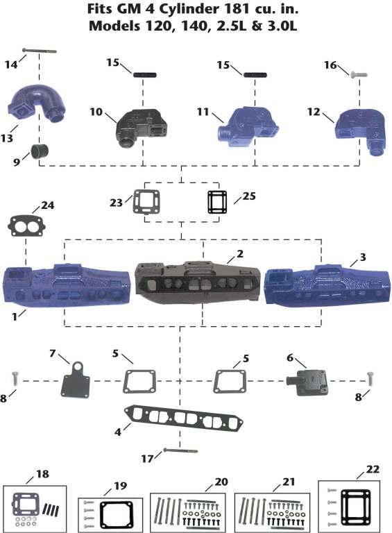 Mercruiser GM 4 Cylinder (120, 140, 2.5L, 3.0L) Sterndrive Exhaust Manifold Exploded View