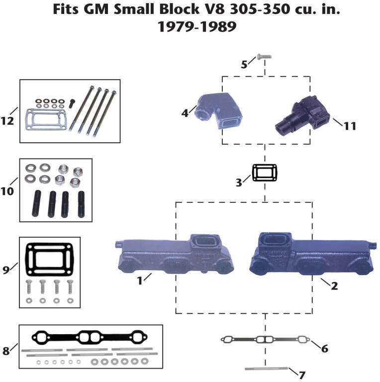 OMC GM Small Block V8 (1979-89) Sterndrive/Cobra Exhaust Manifold Exploded View