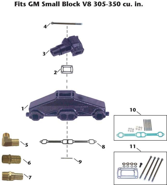 OMC GM Small Block V8 Sterndrive/Cobra Exhaust Manifold Exploded View
