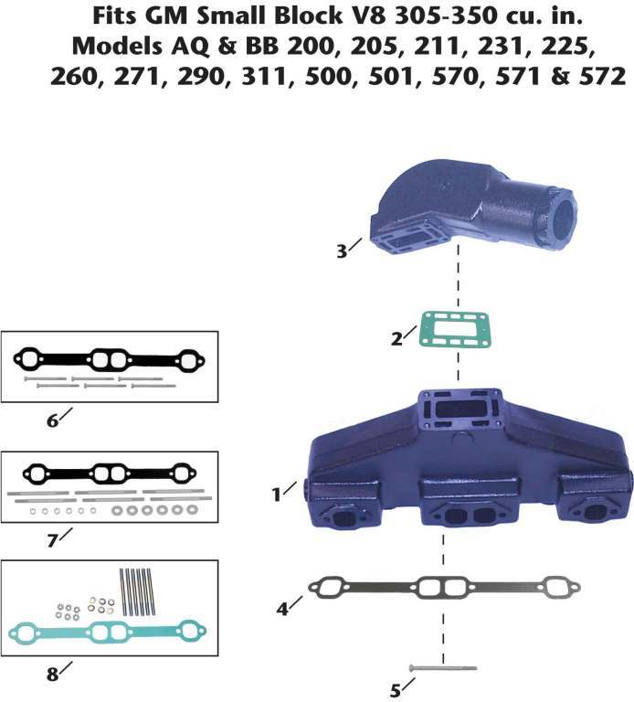 Volvo-Penta GM V8 Small Block Sterndrive Exhaust Manifold Exploded View