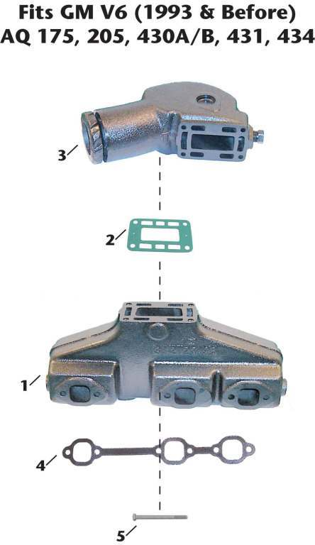 Volvo-Penta GM V6 (1993 and earlier) Sterndrive Exhaust Manifold Exploded View