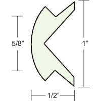 "1""x1/2"" Frosty White Prepacked Flexible Rub Rail Insert 50' Special Shipping - Taco"