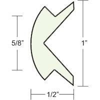 "1""x1/2"" Frosty White Prepacked Flexible Rub Rail Insert 70' - Taco"