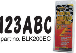 Series 200ec Boat Decal Letter/Number Set, Black - Hardline