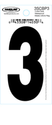 "3"" Glossy Dyer Style Boat Decal Number 3, Black, 10 - Hardline"