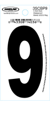 "3"" Glossy Dyer Style Boat Decal Number 9, Black, 10 - Hardline"