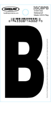 "3"" Glossy Dyer Style Boat Decal Letter B, Black, 10 - Hardline"