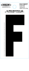 "3"" Glossy Dyer Style Boat Decal Letter F, Black, 10 - Hardline"