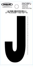 "3"" Glossy Dyer Style Boat Decal Letter J, Black, 10 - Hardline"