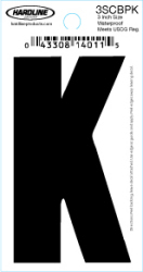"3"" Glossy Dyer Style Boat Decal Letter K, Black, 10 - Hardline"