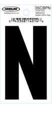 "3"" Glossy Dyer Style Boat Decal Letter N, Black, 10 - Hardline"