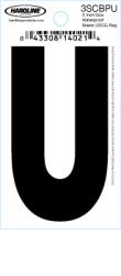 "3"" Glossy Dyer Style Boat Decal Letter U, Black, 10 - Hardline"