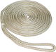 "3/8""x20' Pre-Spliced Double Braid Nylon Dock Line, Gold & White, 10"" Eye Splice - Seasense"