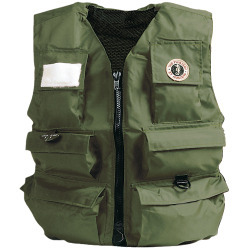 "Mustang Survival Fisherman's Neoprene Manual Inflatable Life Jacket/Vest/PFD; 46-50"" Chest Green Type V"