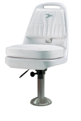 "Standard Pilot Seat 013 with Cushions, 15"" Fixed Pedestal and Seat Slide - Wise Boat Seats"