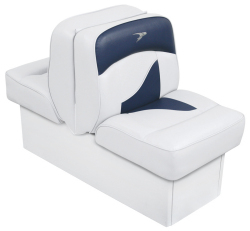 Back-to-Back Lounge Seat Contemporary Series - White-Blue - Wise Boat Seats