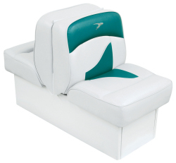 Back-to-Back Lounge Seat Contemporary Series - White-Teal - Wise Boat Seats