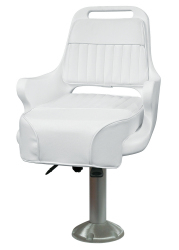 "Ladder Back Pilot Chair 1095 with Cushions, 15"" Fixed Pedestal and Seat Slide - Wise Boat Seats"