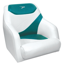 Traditional Style Bucket Seat Contemporary Series, White-Teal - Wise Boat Seats