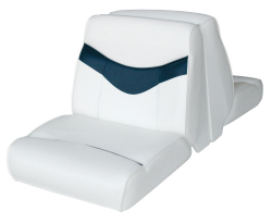 Bayliner Capri and Classic Back-to-Back Lounge Seat, White-Blue - Wise Boat Seats