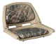 Camouflage Molded Plastic Seat, Mossy Oak Shadow Grass Cushions on Tan Shell - Wise Boat Seats