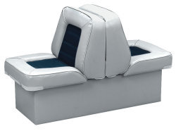 Back-to-Back Lounge Seat Deluxe Skyline, Gray-Navy - Wise Boat Seats