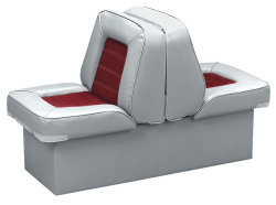 Back-to-Back Lounge Seat Deluxe Skyline, Gray-Red - Wise Boat Seats