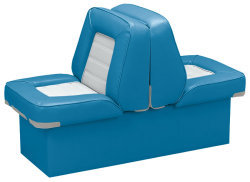 Back-to-Back Lounge Seat Deluxe Skyline, Light Blue-White - Wise Boat Seats