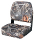Camo Low Back Fold-Down Hunting & Fishing Seat, Camouflage MAX-4 - Wise Boat Seats
