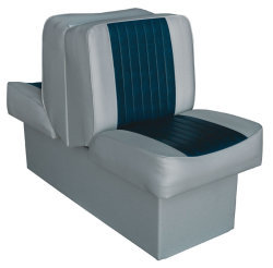 Back-to-Back Lounge Seat Deluxe Runner, Gray-Navy - Wise Boat Seats