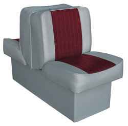 Back-to-Back Lounge Seat Deluxe Runner, Gray-Red - Wise Boat Seats