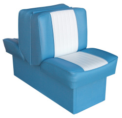 Back-to-Back Lounge Seat Deluxe Runner, Light Blue-White - Wise Boat Seats