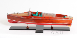 Chris Craft Runabout Wooden Model Boat Painted - Old Modern Handicrafts