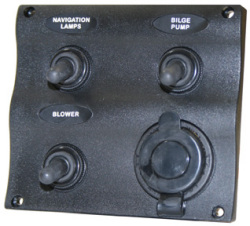 Marine Splash Proof 3-Gang Switch Panel with Power Socket - Seasense