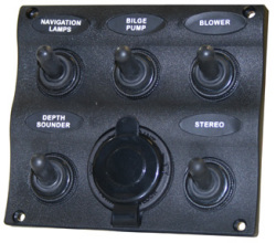 Marine Splash Proof 5-Gang Switch Panel with Power Socket - Seasense