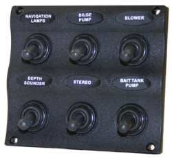 Marine Splash Proof 6-Gang Switch Panel - Seasense