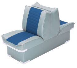 Back-to-Back Lounge Seat Deluxe Plus, Gray-Navy - Wise Boat Seats