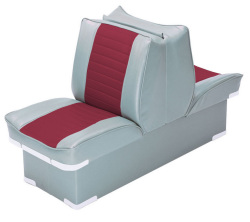 Back-to-Back Lounge Seat Deluxe Plus, Gray-Red - Wise Boat Seats