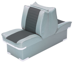 Back-to-Back Lounge Seat Deluxe Plus, Gray-Charcoal - Wise Boat Seats