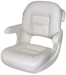 Elite Low-Back Boat Helm Seat, White - Tempress