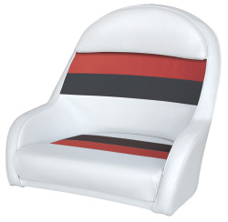 Deluxe Pontoon Bucket Captains Chair, White-Red-Charcoal - Wise Boat Seats