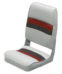 Deluxe Pontoon Fold Down Seat, Light Gray-Red-Charcoal - Wise Boat Seats