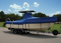 """Hot Shot T-Top Boat Cover (Fits 24'5"""" to 25'4"""" Length, 102' Width w/o Bow Rails, Single Engine Cut-Out)"""