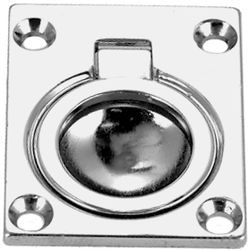 "Flush Ring Pull, 1 1/2"" X 1 3/4"", Chrome Plated, Cast Brass - Seachoice"